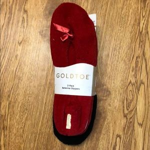 Red and black around the house Gold toe slippers